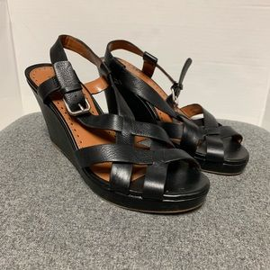 NEW Loft Black Leather Strappy Wedge Sandal 9